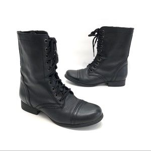 Steve Madden Troopa black leather combat boots 8